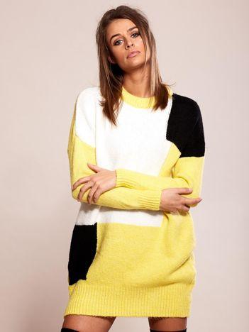 9b661f8c32 Żółta dzianinowa sukienka