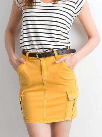 Żółta jeansowa spódnica z kieszeniami