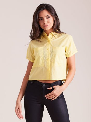 Żółta koszula cropped z kołnierzykiem i kieszeniami