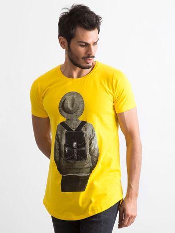 Żółta koszulka męska z nadrukiem