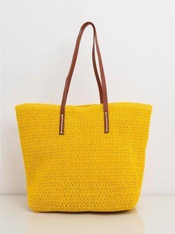Żółta pleciona torba shopper