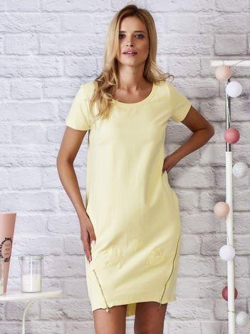 Żółta sukienka dresowa z suwakami