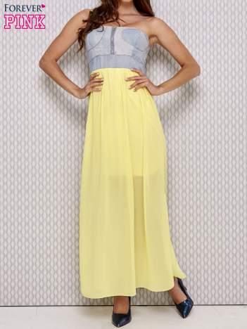 Żółta sukienka maxi z gorsetem z denimu