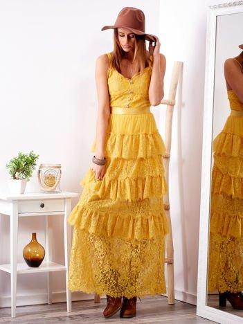 Żółta sukienka z falbanami