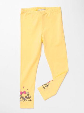 Żółte bawełniane legginsy dla dziewczynki