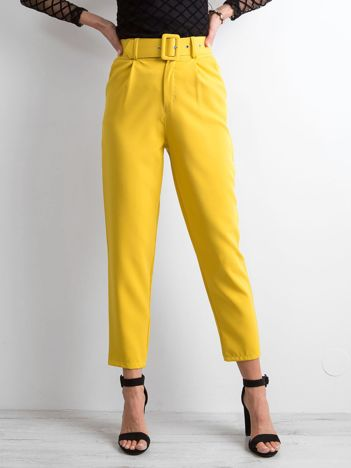 Żółte spodnie high waist
