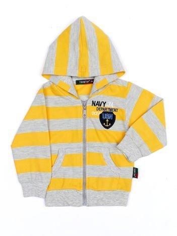 Żółto-szara bawełniana bluza dziecięca w paski z kapturem