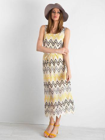 Żółto-szara długa sukienka we wzory