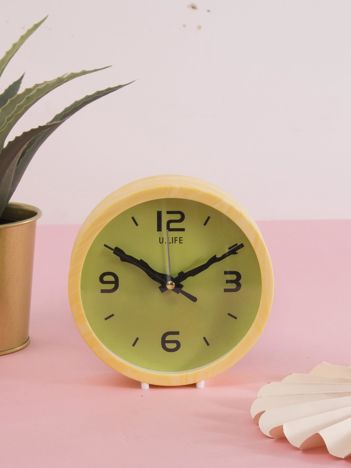 Żółto-zielony okrągły zegarek biurkowy