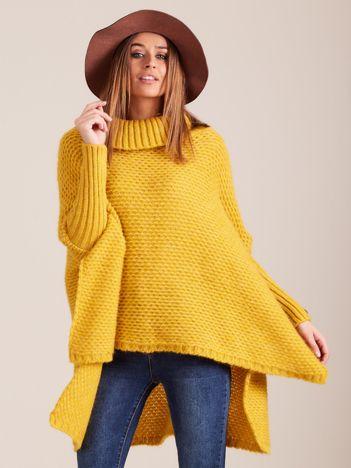 Żółty asymetryczny sweter golf MAGPIE