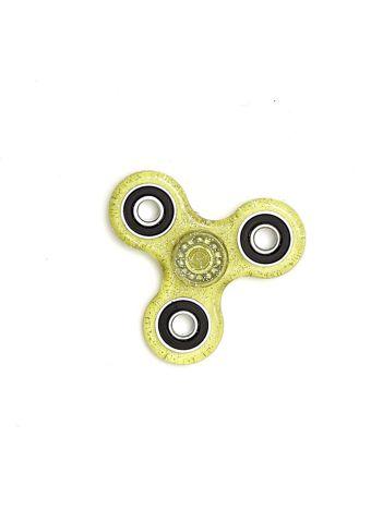 Żółty brokatowy hand spinner z metalowymi obciążnikami
