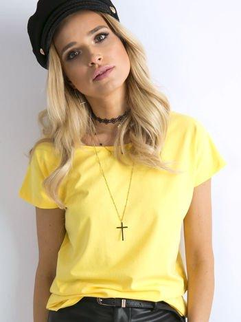 Żółty damski bawełniany t-shirt