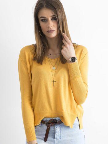 Żółty luźny damski sweter