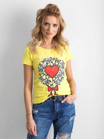 Żółty t-shirt damski z nadrukiem
