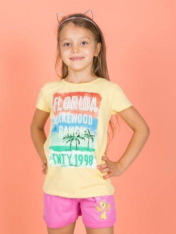 Żółty t-shirt dla dziewczynki z napisami