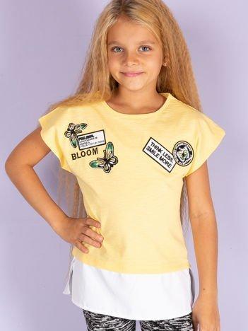 Żółty t-shirt dla dziewczynki z naszywkami