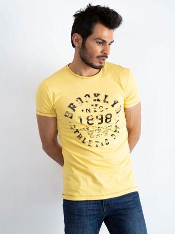 Żółty t-shirt męski College