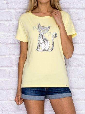 Żółty t-shirt z cekinowym kotem