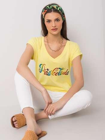 Żółty t-shirt z nadrukiem Hollis