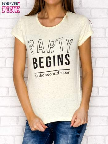 Żółty t-shirt z napisem PARTY BEGINS