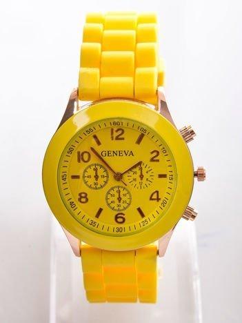 Żółty zegarek damski z silikonowym paskiem