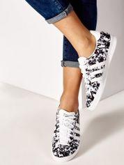 ADIDAS Białe damskie buty sportowe z motywem roślinnym