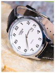AMBER TIME stylowy męski zegarek z białą tarczą i datownikiem.