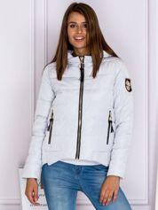 Asymetryczna kurtka zimowa z kapturem szara