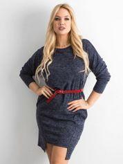 Asymetryczna sukienka plus size ciemnoniebieska