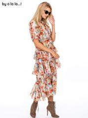BY O LA LA Sukienka w kwiaty z falbankami