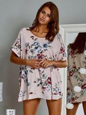 Bawełniana bluzka oversize z nadrukiem w kwiaty jasnoróżowa