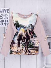 Beżowa bluzka chłopięca z nadrukiem Tyranozaura