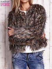Beżowa futrzana kurtka z podszewką