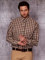 Beżowa kraciasta koszula męska PLUS SIZE
