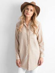 Beżowa tunika koszulowa w paski