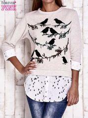 Beżowa warstwowa bluza z motywem ptaków