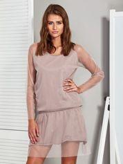 Beżowa warstwowa sukienka z siateczkową warstwą