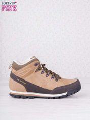 Beżowe buty sportowe z brązowymi skórzanymi wstawkami