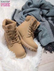 Beżowe buty trekkingowe damskie Amina traperki ocieplane