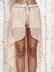 Beżowe spódnicospodnie z tiulowym trenem