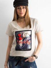Beżowy damski t-shirt z bawełny