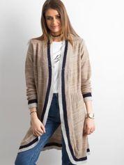 Beżowy długi sweter z dzianiny