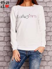 Biała bluza z napisem ŁOBUZIARA