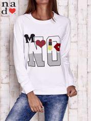 Biała bluza z napisem NO