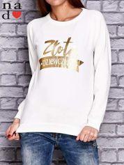 Biała bluza z napisem ZŁOTA DZIEWCZYNA
