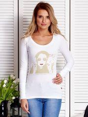 Biała bluzka damska z dziewczęcym fotoprintem