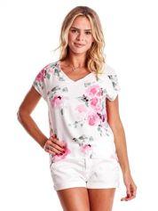 Biała bluzka w malarskie kwiatowe desenie