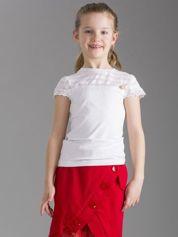 Biała elegancka bluzka dziewczęca z krótkim rękawem