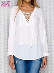 Biała koszula mgiełka z wiązaniem