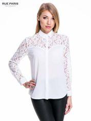Biała koszula z koronkową górą i rękawami